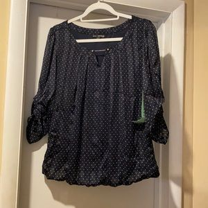 Blue and white polkadotted shirt